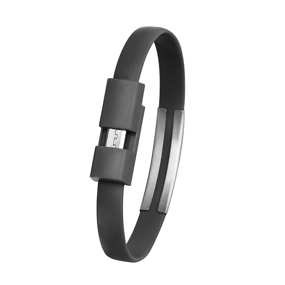 1pc High Quality Black Color 22cm Wristband Micro USB Cable Charger Charging Data Sync For Android Smartphones #S