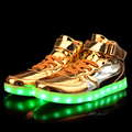 2016 New Men Fashion Luminous Shoes High Top LED Lights USB Charging Colorful Shoes Lovers Male Casual Flash Shoes Gold Silver