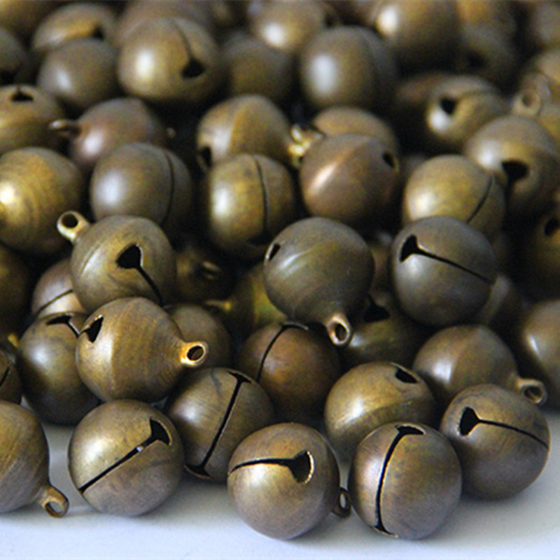 50Pcs Bronze Tone Drop Charm Jingle Bell Copper Pendants Xmas Christmas Bell Decoration 6mm in Artificial Dried Flowers from Home Garden