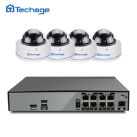 Techage H 265 8CH 48V POE NVR DVR HD CCTV System 4MP Indoor Dome POE IP