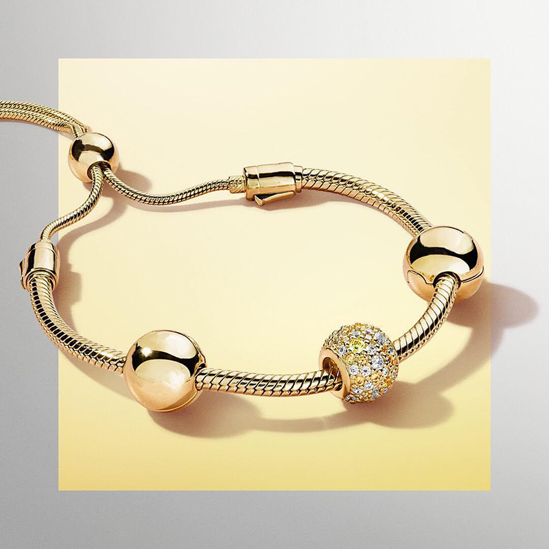 2018 nouveau 100% 925 argent Sterling 18 or brillant scintillant Bracelet soleil charme perle Bracelets ensemble Fit femmes bijoux cadeau