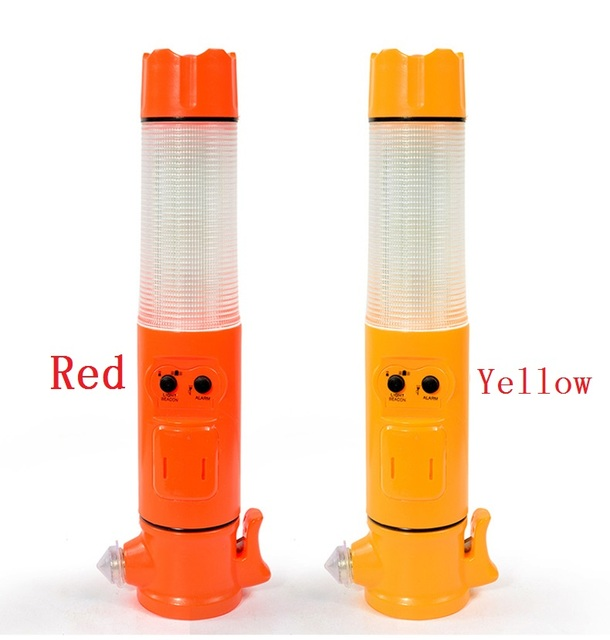 5-in-1 multi-function safety  broken windows hammer traffic baton warning light emergency escape tool