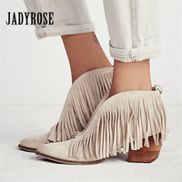 Sexy Front V Open Women Pointed Toe Ankle Boots Thick High Heels Slip On Tassels Women