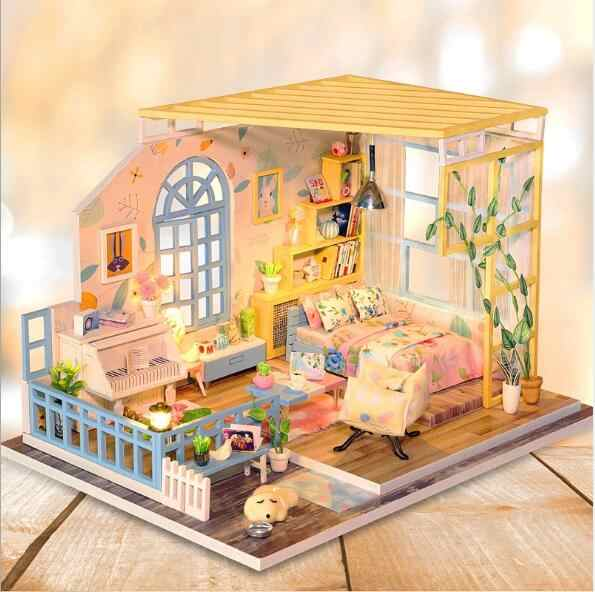 New arrive DIY Doll House Wooden Doll Houses Miniature Dollhouse Furniture Kit with LED Toys for children birthday Gift