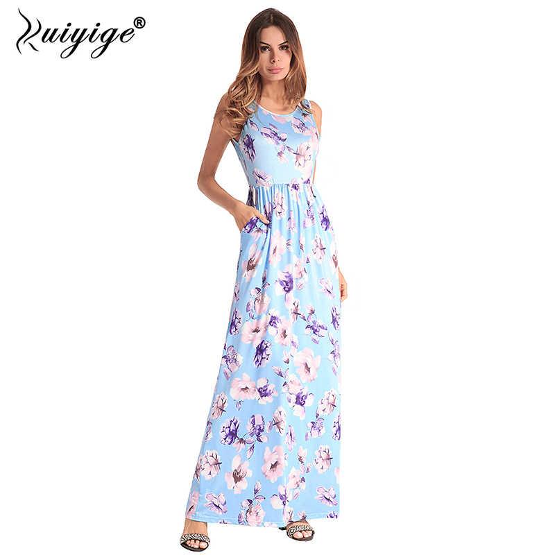 9c708fcc91 Ruiyige Women Summer Maxi Tank Dress Floral Print Beach Dress 2018 Long Boho  Ethnic Vintage Elegant