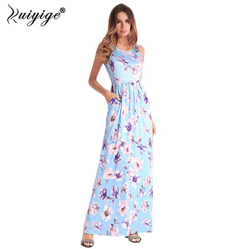 3f6283e588 Detail Feedback Questions about Ruiyige Women Summer Maxi Tank Dress Floral  Print Beach Dress 2018 Long Boho Ethnic Vintage Elegant Pockets Holiday  Vestido ...