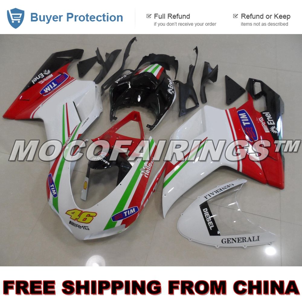 FREE SHIPPING Body Work For Ducati 2007 2012 848 1098 1198 Injection Motorcycle ABS Fairing Kit WHITE RED