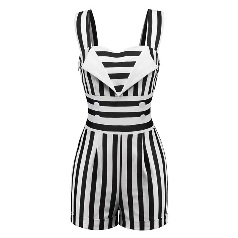 Striped Vintage Jumpsuit Elegant Short Romper One Piece Women Retro Casual Playsuits 2019 Summer Woman Sexy Black White Overalls