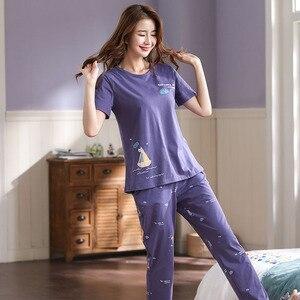 Image 2 - Nouveau été Pyjamas femmes coton bande dessinée Pyjamas ensemble hauts courts + longs pantalons vêtements de nuit lâche doux grande taille M 5XL vêtements de nuit pour dames