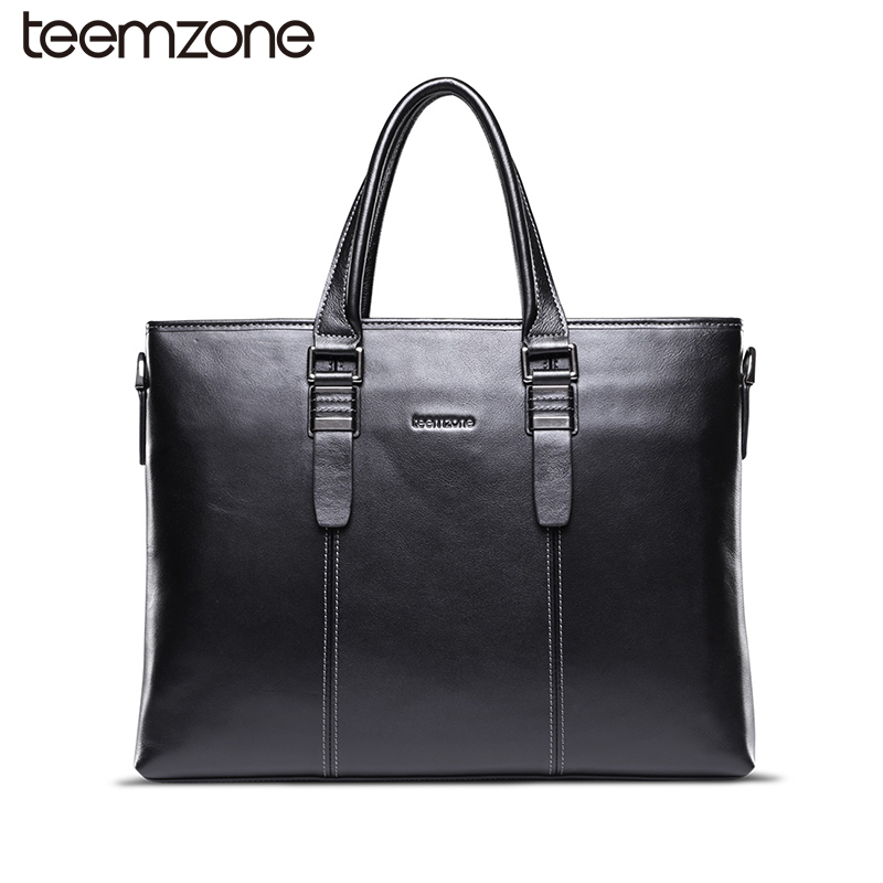 teemzone Trend  Men Leather Briefcase Bag Business Handbag High Quality Messenger Bags Leather Laptop Shoulder Briefcase T0921 цена и фото