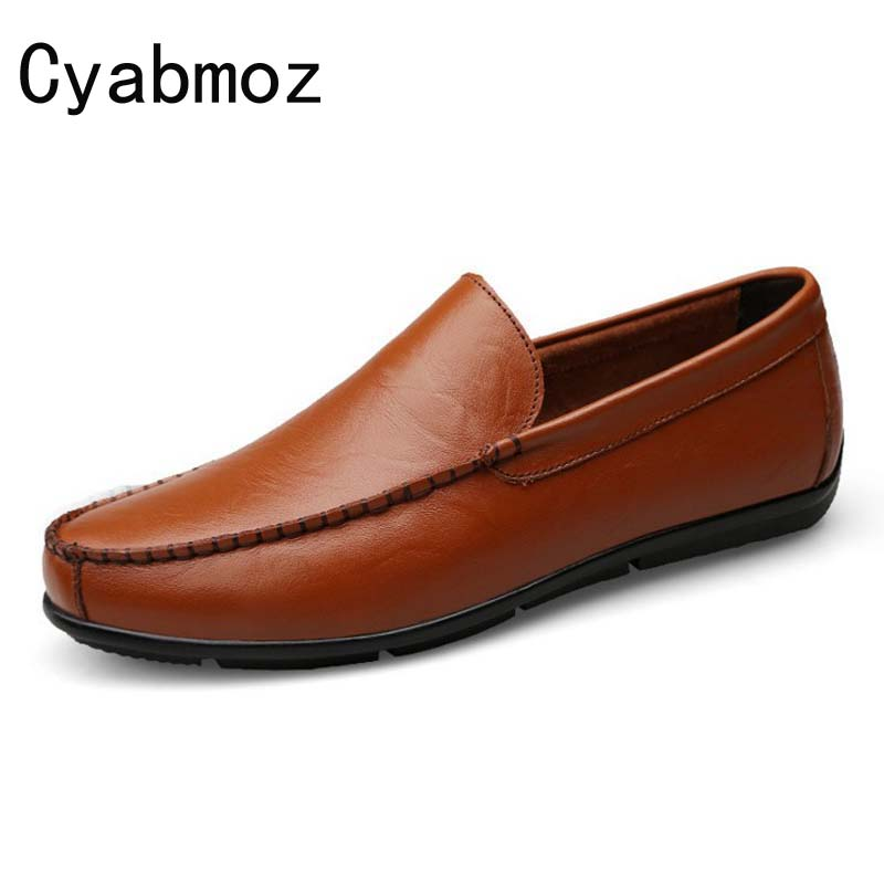 2017 Flats New Arrival Casual Men Genuine Leather loafers Driving Shoes Plus size 38-47 Handmade moccasins shoes male oxfords men s genuine leather casual shoes handmade loafers for male men waterproof flat driving shoes flats
