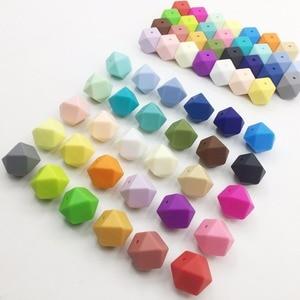 Image 1 - 150 Stuks 17Mm Hexagon Vormige Siliconen Kralen Tandjes Baby Bijtring Geometrische Siliconen Bead Chain Baby Cadeau Speelgoed Food Grade