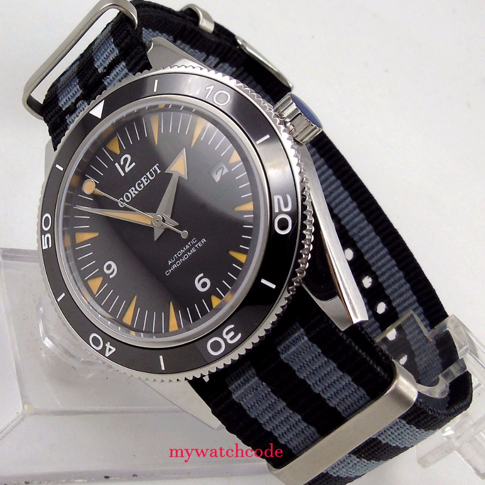 41mm corguet black dial sapphire wristwatch glass date 21 jewels miyota 8215 movement mens watch цена и фото