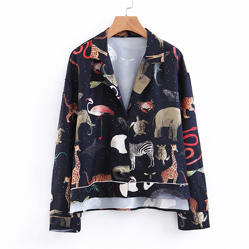 Animal Printed Blouses Women Fashion Long Sleeve Shirts And Blouse Women Elegant Tailored Collar Loose Tops Female BU08(China)