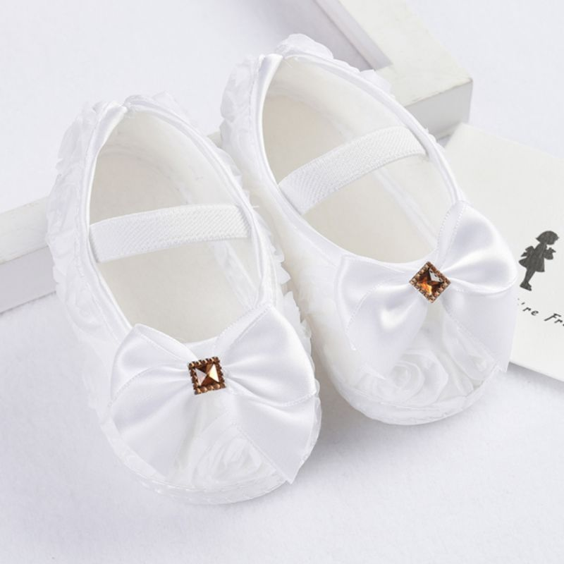 Girls Flowers Bow Baby Toddler Shoes 11cm 12cm 13cm Spring Autumn Children Footwear First Walkers