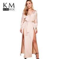 Kissmilk Plus Size Satin Side Split Deep V Neck Long Sleeve Dress Solid Color High Waist Party Casual Hot Maxi Dress