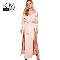 Kissmilk Plus Size Satin Side Split Deep V Neck Long Sleeve Dress Solid Color High Waist Party Casual Hot Maxi Dress