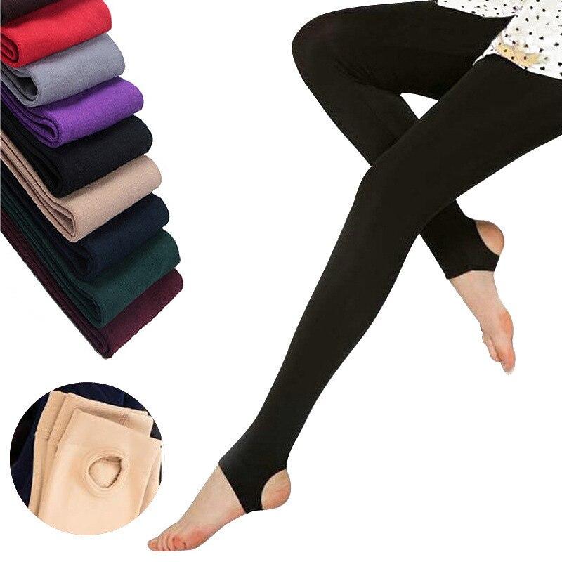 2019 Otoño Invierno mujer polainas gruesas calientes color caramelo cepillado carbón estiramiento polar pantalones Trample pies leggings