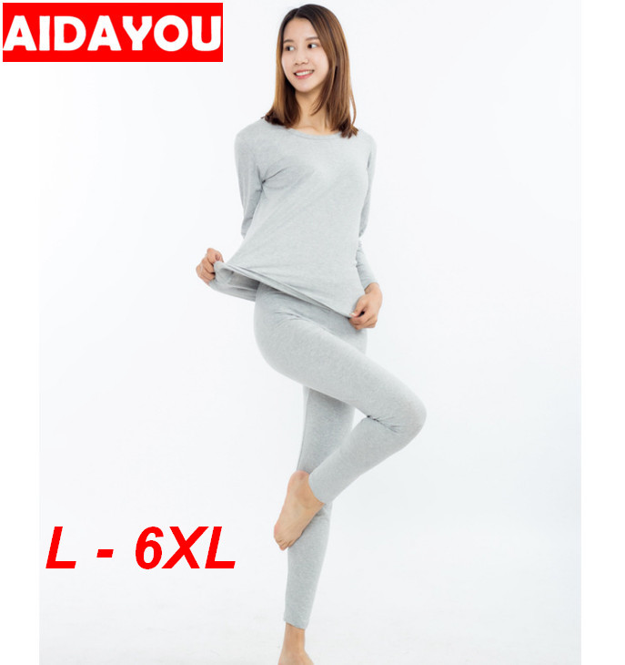 Plus Size 6xl  Women's Cotton Underwear Set Female Good Elasticity Soft Long Johns Ouc1744a