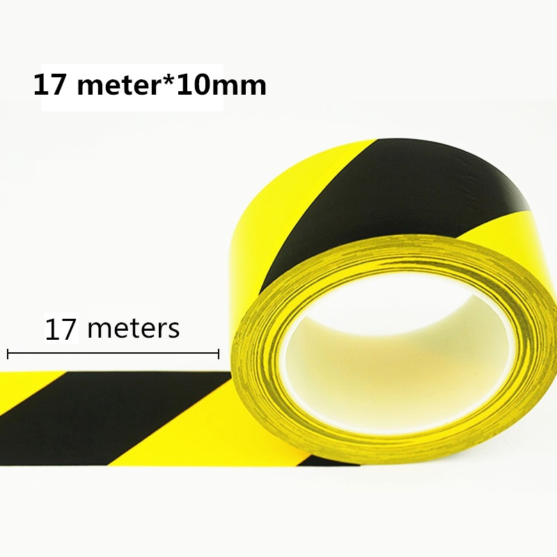Black And Yellow Floor Tape Black Yellow Warning Tape 17 Meters *10mm Wear-resistant Identification Tape