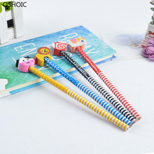 At Rancom 100PCS/SET Childrens Cartoon Pencil with Rubber Head Creative HB Primary Gifts Stationery Wholesale