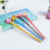 At Rancom 100PCS/SET Children's Cartoon Pencil with Rubber Head Creative HB Primary Pencil Gifts Stationery Wholesale