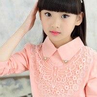 Nueva camiseta de las muchachas tamaño otoño 2018 color sólido blanco camiseta niños tocando fondo rosa mariposa adolescente vuelta-abajo collar Tees