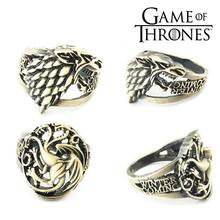 купить Game of Thrones House Targaryen Fire and Blood House Stark Winter is Coming Metal Ring Jewelry Ornament Cosplay Collection Gift онлайн