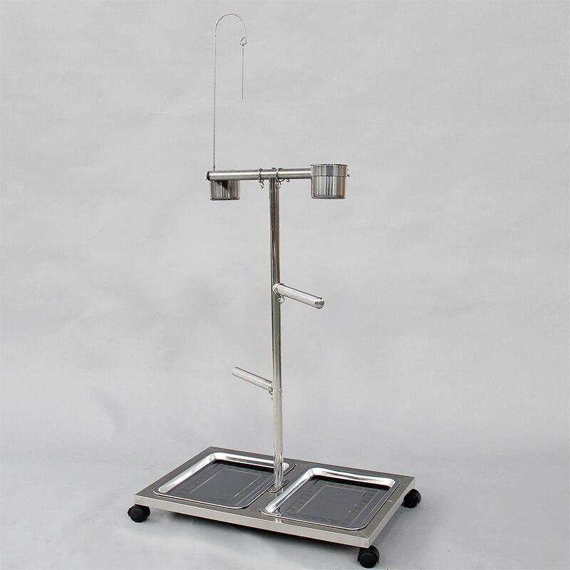 Support de perroquet Portable en acier inoxydable avec perche et tasses d'alimentation plate-forme de jeu suspendue avec plateau Mini Cage à oiseaux CW076