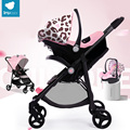 Babysing 2 em 1 carrinho de bebê e assento de carro do bebê portátil dobrável ao ar livre passear carrinhos & carrycot