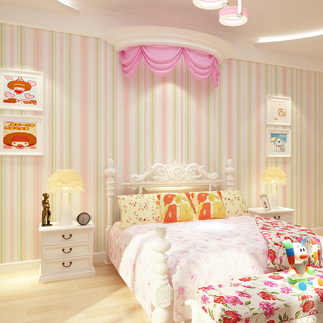 Kids Wallpapers Girls Stripes Pink Nonwovens Cartoon Cute Bedroom Wall