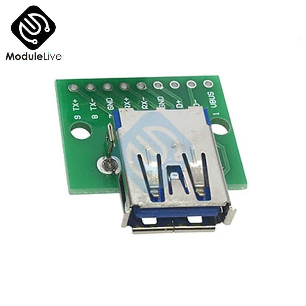 2.54 Mm Mini Mikro Usb untuk DIP Adapter/USB Konektor 2.54 Mm 5 Pin Perempuan Konektor B Tipe USB2.0 PCB Konverter USB-01