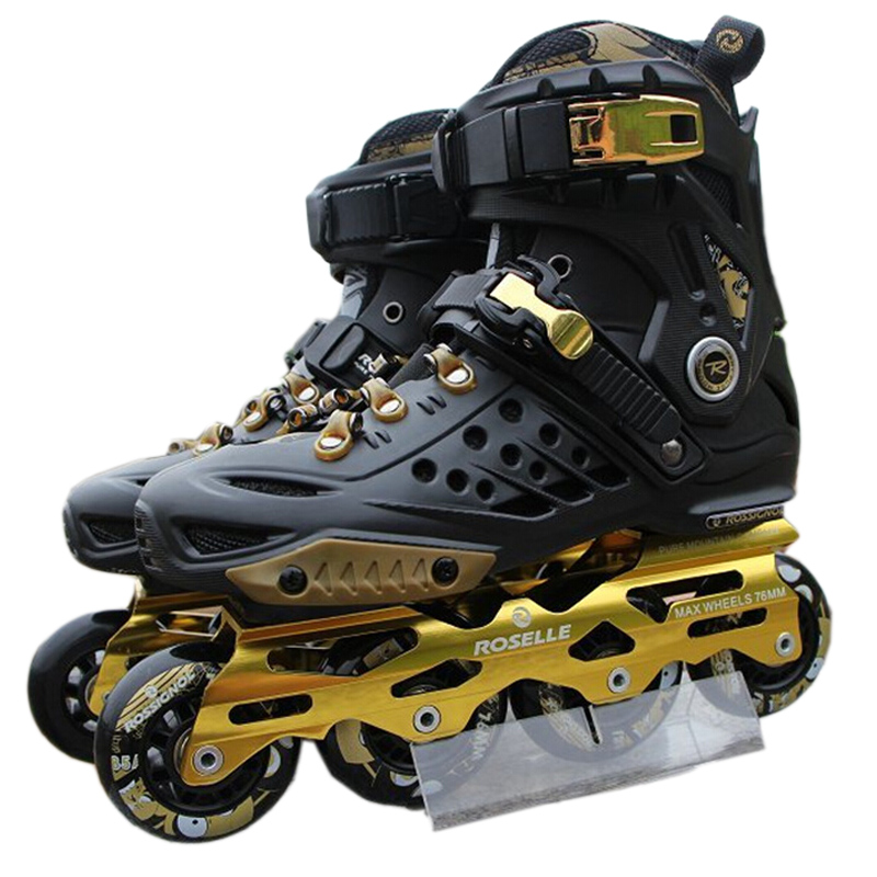 New Black Gold Adults Professional Inline Skate Shoes Patines Freestyle  Outdoor Roller Skating Boots Sneakers Athletic Shoes-in Skate Shoes from  Sports ... 880a9748cc