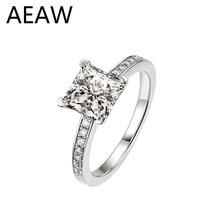 18K White Gold Au750 1ct 6.5mm DF Color Princess Brilliant Cut Lab Diamond Engagement Ring Wedding Ring For Women