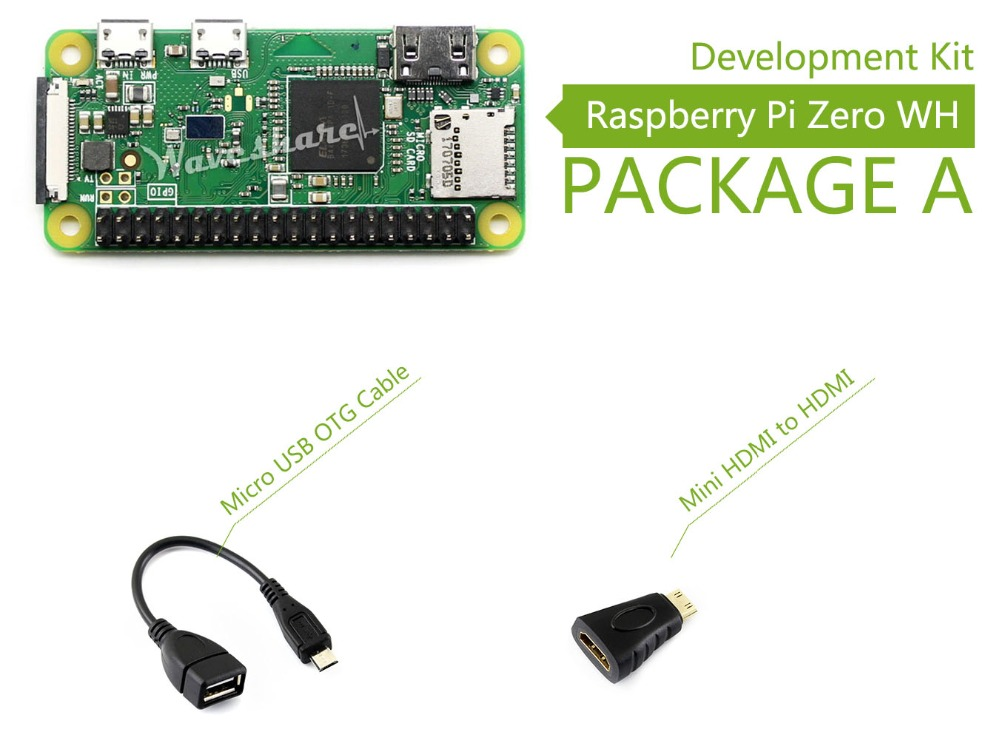 Raspberry Pi Zero WH (built-in WiFi, pre-soldered headers) Development Kit Type A, Basic Components raspberry pi zero wh built in wifi pre soldered headers type b micro sd card power adapter official case basic components