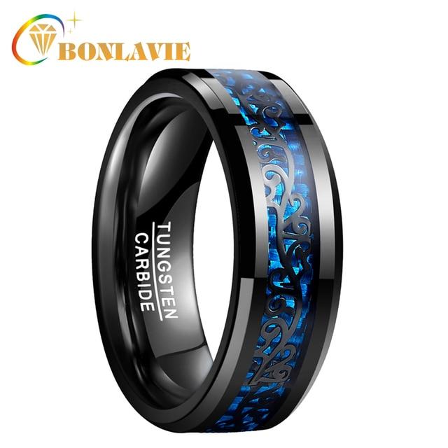 Male Wedding Bands.Bonlavie Wedding Bands Men Ring Black Vine Blue Carbon Fiber 100 Tungsten Steel Rings Male Jewelry Anillos Accessories