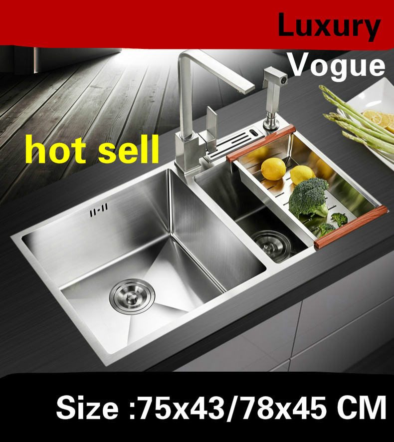 Free Shipping Apartment 304 Stainless Steel Multifunction Kitchen Manual Sink Double Groove 75x43/78x45 CM