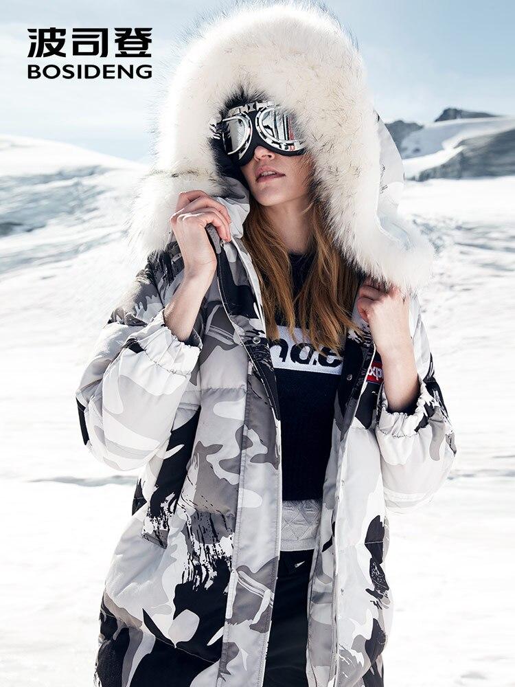 BOSIDENG 2018 nuovo 90% Piuma D'oca Imbottiture Cappotto lungo addensare parka 17 cm naturale collo di pelliccia camouflage impermeabile antivento B80142144