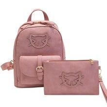 2017 искусственная кожа мешок Hello Kitty рюкзак женская дизайнерская сумка кошка хлопок Школьные ранцы для подростков Рюкзаки девочек Mochila