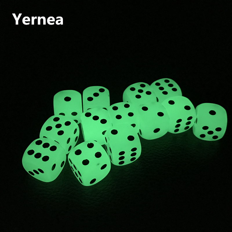 Yernea 6Pcs/Lot 16mm Luminous Dice Rounded Corner Drinking Glowing Dice Nightclub Bars Dedicated Entertainment Dice Wholesale