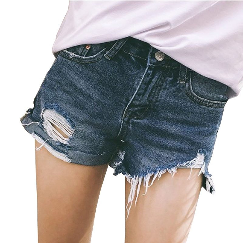 YSDNCHI Summer Denim   Shorts   Jeans For Women Vintage Ripped Hole Skinny High Waist   Shorts   Female Sexy Pocket Blue Jeans   Shorts