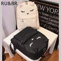 RU&BR Cute Cartoon Embroidery Cat Ear Printing Backpack College Style Casual Backpack Korean Canvas Backpacks For Teenage Girls
