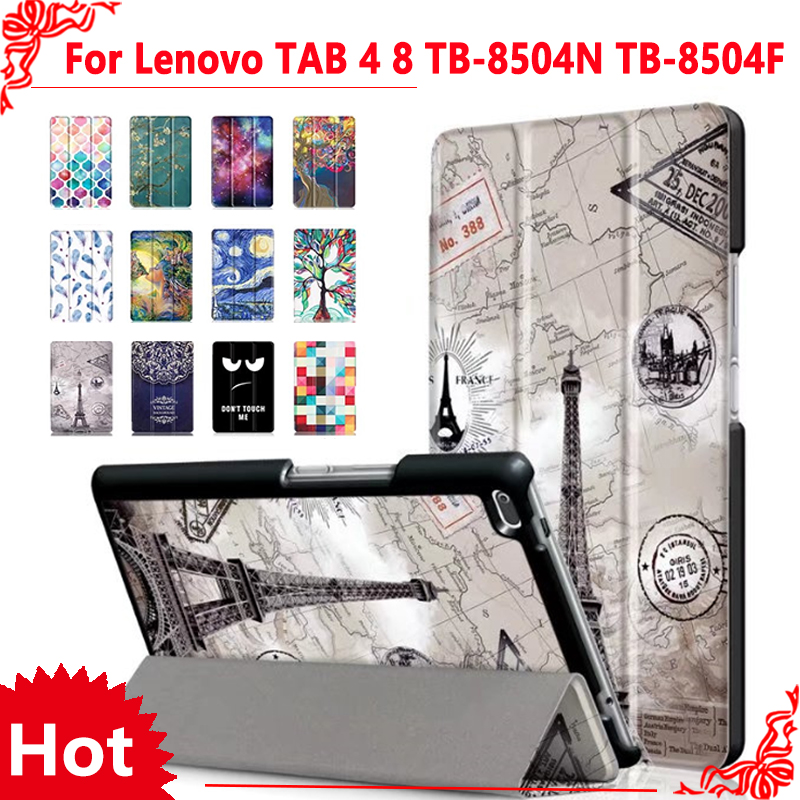 Case for Lenovo TAB4 8 PU Leather Folding Folio Case for Lenovo TAB 4 8 TB-8504N TB-8504F Tablet Flip Stand Case + free 3 gifts triple folding design plastic pu leather full body case for nokia n1