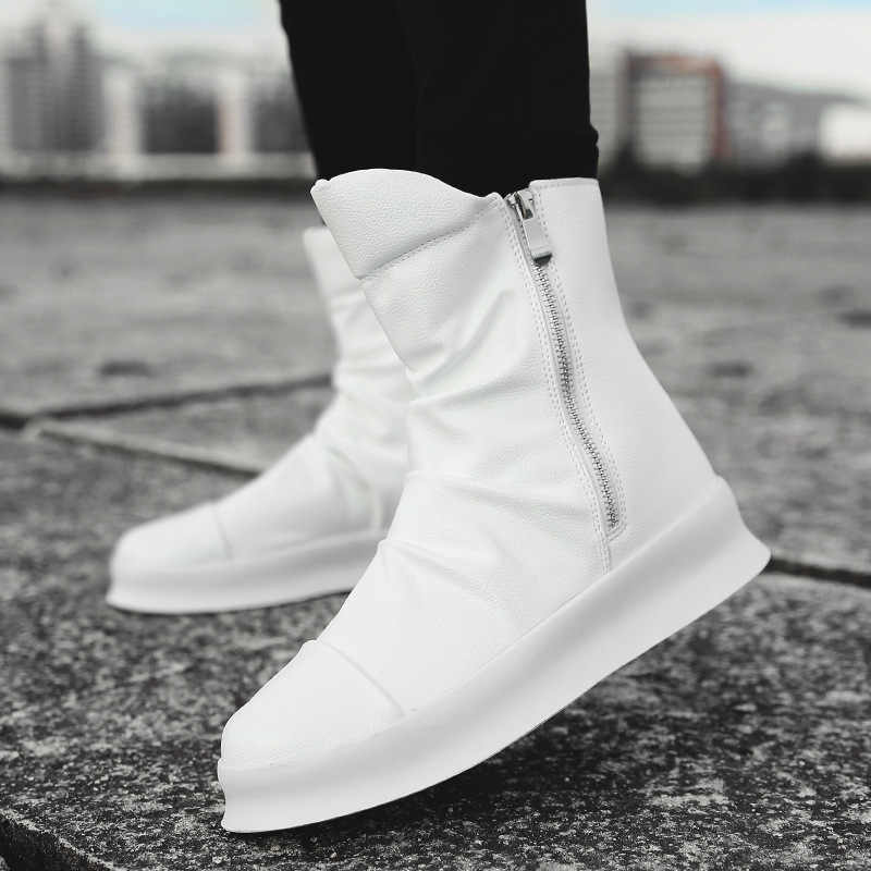 a22d9d51e85 Men 8cm Height Increasing Platform Boots Back Zip Leather Shoes Male Mixed  Colors Y3 High Top Black White Men's Boots yhn78