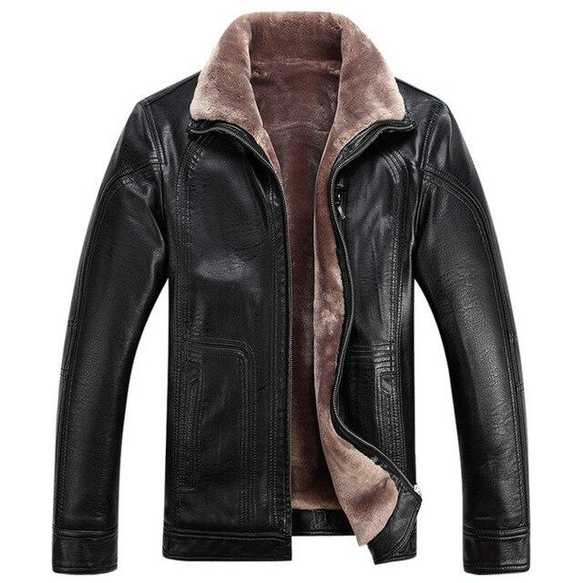 489fe52c46950 Rosja Zagęścić flokowanie Zimowe Męskie kurtki skórzane Najwyższej jakości  faux kożuch Skórzane Kurtki płaszcze Odzież męska