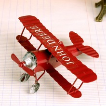 Vintage Biplane Model Mini Figurines for Home Decor Metal Iron Air Plane Model Aircraft Children Room Hanging Decor Kids Gift