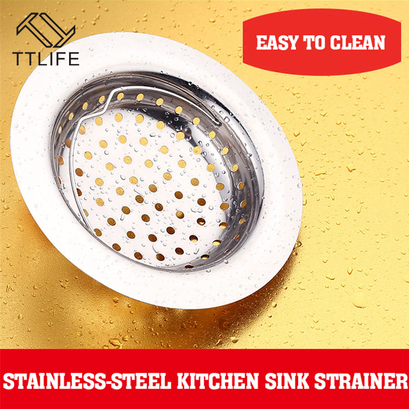 2pcs ttlife stainless steel kitchen sink basin bathtub hair drain mesh waste plug hole filter flume sink strainer hot sale - Kitchen Sink Filter
