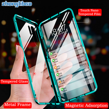 หรูหราโลหะแม่เหล็กสำหรับ Huawei P30 P20 Mate 20 Honor 20 Pro Lite 20i V20 ด้านหน้ากลับแก้วคู่ 360 Full COVER