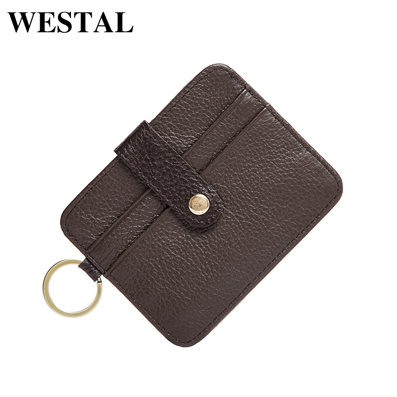 WESTAL Genuine Leather Men Card Holder Short Wallet Man Credit ID Card Holder Slim Purse Male Gift Leather Coin Small Bag 9204 williampolo mens mini wallet black purse card holder genuine leather slim wallet men small purse short bifold cowhide 2 fold bag
