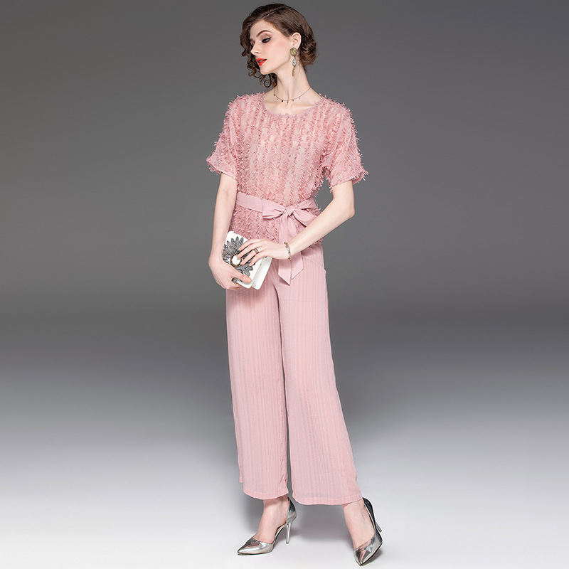 Pant Suits Women Pink Two Piece Sets 2019 Spring Summer New Fashion Short sleeve O Neck Top + Wide Leg Pants Women sets